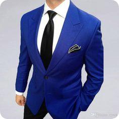 2017 Notch Lapel Royal Blue Groom mens Suits terno 2 Pieces Slim Fit Wedding Suits for Men Business man Suit (Jacket+Pants+Tie) Royal Blue Suit Wedding, Royal Blue Tux, Royal Blue Blazers, Wedding Suits, Blue Wedding, Royal Royal, Black Blazers, Dress Wedding, Wedding Reception
