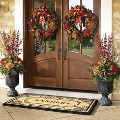 Fall wreaths and urns