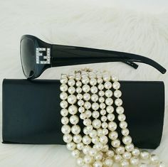 SALE New Fendi Black Sunglasses Diamond Logo Stylish Authentic New Fendi Black Sunglasses with Diamond Logo Embellished with case and cleaning cloth FENDI Accessories Sunglasses