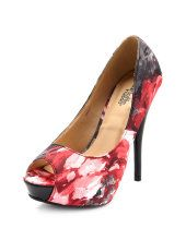 Watercolor Floral Peep-Toe Pump      $30.00     at charlotterusse.com  #shop #budget #shoes