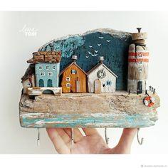 Купить 'Далекий город' Ключница/вешалка, домики, дрифтвуд-арт в интернет магазине на Ярмарке Мастеров