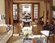 Room with natural wood trim that still looks light and modern