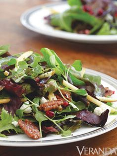 Mixed Field Greens With Apple, Pomegranate Seeds, Goat Cheese & Candied Pistachios; Veranda.com    #salad #appetizer #dinner