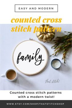 Family cross stitch pattern family counted cross stitch easy modern xstitch pattern farmhouse wall art housewarming gift idea for mom Easy Cross, Simple Cross Stitch, Cross Stitch Fabric, Cross Stitch Embroidery, Farmhouse Wall Art, Rustic Farmhouse, Farmhouse Style, Cross Stitch Quotes, Stitch Shop
