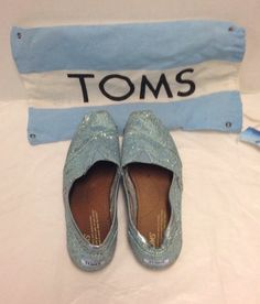 Toms Shoes Glitter Blue Womens Size 8M Dust Bag Included #Toms #ClassicToms
