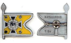 Kavallerie__WHW, plastic tinnie with pin on reverse___This set was sold on the and March 1940 (Tag der Wehrmacht)__ADV_Source: J Temple-West Charitable Donations, Pin Badges, Temple, Third, March, Plastic, Accessories, Temples, Mars