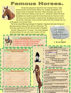 Famous Horses Reading Comprehension - My Reading Kids English English, English Reading, English Phonics, English Vocabulary, Reading Comprehension Worksheets, Grammar Rules, Reading Material, Kids Reading, Writing Tips