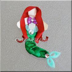 Little Mermaid Headband Mermaid Hair Bow Ribbon by GirlyKurlz