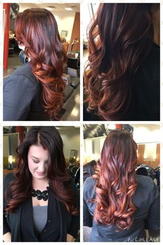 Fun and intense copper red balayage from Today! Love!!