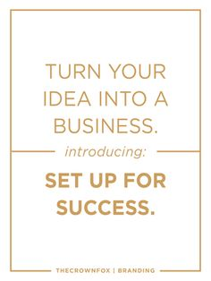 Grow your online business with great branding. You need more than a designer. You need a path towards success - strategies for growth, cohesive branding, and the confidence to make your spark of an idea turn into a full-fledged business. Introducing: Set Up For Success Branding from TheCrownFox. Click through to learn more and start working together today.  |  TheCrownFox | www.TheCrownFox.com | Branding Design + Strategy