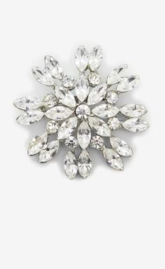 Crystal And Silver Brooch