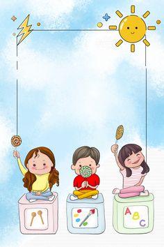 Cute Pink Background, Blue Background Images, Theme Background, Cartoon Background, Kindergarten Posters, Kindergarten Pictures, School Posters, Cartoon Trees, Cartoon Kids