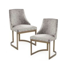 Grey Fabric Mid Century Dining Chair Curved Metal Legs - Set 2 Cream Dining Chairs, Mismatched Dining Chairs, Mid Century Dining Chairs, Dining Chair Set, Dining Room Chairs, Dining Furniture, Side Chairs, Silver Furniture, Dining Table