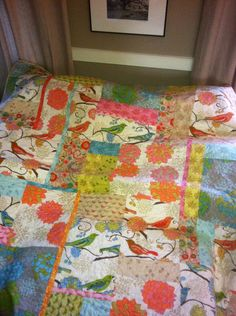 """Quilt for Elise.  Fabric and pattern by Valori Wells - """"Nest"""".  Need to remake for my guest bed - have no idea how to increase the size."""
