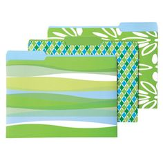 Palm Letter-Size Interior File Folders  File with style! These colorful, patterned Letter-Size Interior File Folders make organizing more fun! Made from premium, heavyweight coated card stock