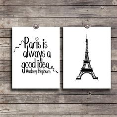 Paris wall decor SET Instant download Audrey Hepburn Quote Digital art DIY Printable Eiffel tower poster Typography print Paris good idea