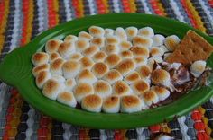 S'mores dip!  Ingredients: 1 cup of milk chocolate chips 2 tbs of milk 1¼ cups mini marshmallows Graham crackers to dip  In a medium sauce pan add chocolate chips, milk and 1 cup of your mallows. Mix continuously over medium heat until melted and smooth. Using a rubber spatula, scrape chocolate mixture into a small casserole dish. Top with remaining mallows. Place dish under your oven broiler for approximately 60 seconds or until the top has started to brown. Dip your graham crackers and…