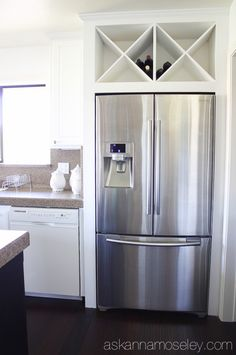 Custom wine rack above fridge - Ask Anna