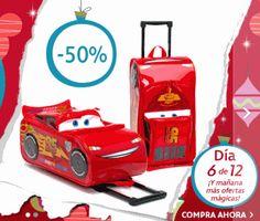 ¡¡Chollo!! SOLO HOY 9 de diciembre tienes la maleta Rayo MacQueen infantil con ruedas con un 50% de descuento directo y se queda solo en 18€.¡Aprovéchalo!