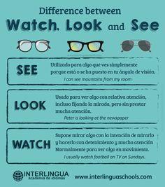 Diferencia entre Watch, Look y See #inglés #english