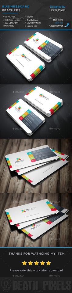 Creative Multi Color Business Card  — PSD Template • Only available here ➝…