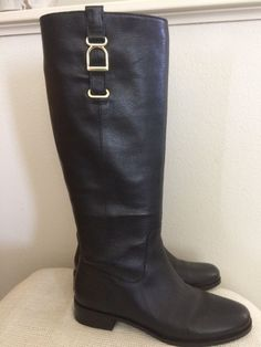 Banana Republic Willow Riding Boots Size 6.5 M Black Leather Gold Accents  EUC  fashion   42dd5d7e561e