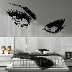 decal for teen bedroom - initials | Girls Eyes Wall Decals in Teen Girls Bedroom Design Ideas - Home ...