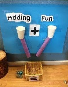 A fun way to encourage addition math skills with cups and paper towel or toilet paper rolls. I did this with big C in pre-K. Elementary Math, Kindergarten Classroom, Teaching Math, Year 1 Classroom, Math Teacher, Future Classroom, Classroom Displays Eyfs, Primary School Displays, Kindergarten Posters