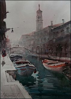 Dusan Djukaric Watercolor, 54x36 cm