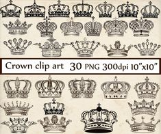 Crown Clipart: CROWN CLIP ART Royal Crown Clipart Crown Silhouette Clipart black crowns princess clipart Digital Crowns Clip Art You will receive: - 30 individual PNG images aprox 10 wide - PNG format with a transparent background - High resolution (300dpi) Use for Scrapbooking,