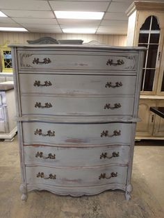 "Gosh don't you just love these French pieces? The curves are just amazing and that hardware just tops them off perfectly! What do you think?  The dimensions are 40"" L, 19"" W, 52"" H. SOLD!! for $350 Shabby Chic Chest Of Drawers, Affordable Furniture, Just Amazing, Shabby Chic Furniture, Curves, Hardware, French, Things To Sell, Home Decor"