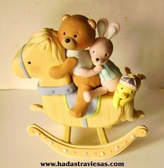 Teddy, Rabbit, and Chick on Rocking Horse Teddy Bear Party, Teddy Bear Cakes, Teddy Bears, Rocking Horse Cake, Baby Cake Topper, Fondant Animals, Polymer Clay Figures, Fondant Toppers, Cake Fondant