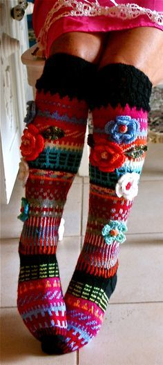 Colorful knit socks with crochet flowers by Anelma Kervinen, Finland Knitting Socks, Hand Knitting, Knitting Patterns, Crochet Patterns, Knit Socks, Crochet Slippers, Knit Crochet, Knitting Projects, Crochet Projects
