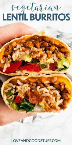 Vegetarian Mexican Recipes, Vegetarian Burrito, Vegetarian Wraps, Lentil Recipes, Bean Recipes, Veggie Recipes, Lunch Recipes, Cooking Recipes, Healthy Recipes