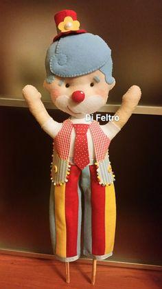 Palhaço perna de Pau - Tema Circo - Topo de bolo fake