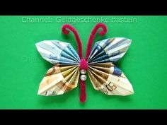 Money folding: Butterfly 🦋 How to make a butterfly with money - Origami Butterfly Origami Butterfly, Origami Flowers, Money Origami, Origami Paper, Don D'argent, Origami Simple, Folding Money, Origami Tutorial, Potpourri