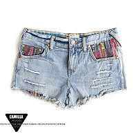 Original single in Europe and foreign trade leisure weaving peoples dew dew wind mosaic Pocket pockets light Flash denim shorts hot pants