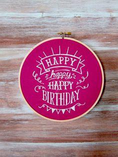 Embroidered Hoop Art-Embroidery Hoop Art-Happy by ZellyaDesigns