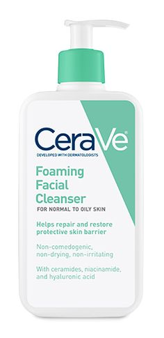 CeraVe Foaming Facial Cleanser, for normal to oily skin, gently cleanses and eliminates shiny, oily areas on the forehead, chin and nose while maintaining a healthy moisture balance.