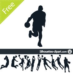 basketball players vector silhouette | silhouettes clipart
