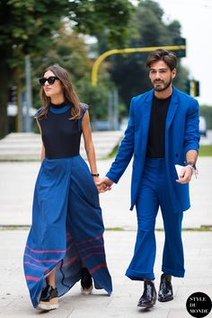 Milan FW Street Style: Patricia Manfield and Giotto Calendoli Fashion Couple, Fashion Week, Look Fashion, Street Fashion, Street Look, Street Chic, Stylish Couple, Sabo Skirt, Couple Outfits