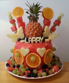 """I made this watermelon """"cake"""" for my son's first birthday! :-)"""
