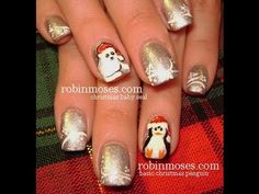 Christmas Baby Seal Nail Art (penguin in another tutorial)