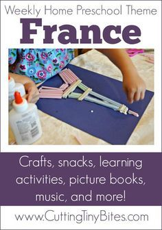 France Theme Weekly Home Preschool. Crafts snacks music field trip picture books and more! Perfect amount of activities for one week of EASY homeschool pre-k. Preschool Lesson Plans, Preschool At Home, Preschool Crafts, Daycare Crafts, Toddler Crafts, Around The World Theme, We Are The World, Around The World Crafts For Kids, Multicultural Activities