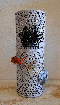 Vintage hairspray holder turned earring display. Love repurposed, upcycled stuff.