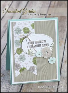 Birthday Card handmade with Succulent Garden Stamp set by Stampin' Up!