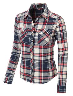 e27e1f08d97e0 LE3NO Womens Slim Fit Long Sleeve Plaid Flannel Button Down Shirt  (CLEARANCE)