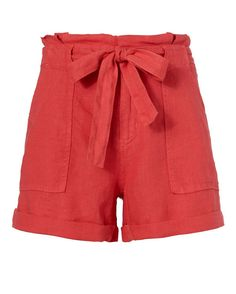 Joie Elisa Linen Shorts: Linen shorts make for an easy summer staple and we are all about bright hues. Zip/hook/button closure with self tie sash at waistline. Two slant frontal pockets and two flap pockets at rear. Cuffed hem. In coral red. Fabric: 100% linen Made in China.   ...