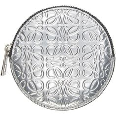 LOEWE Silver Leather Embossed Coin Pouch (290 AUD) ❤ liked on Polyvore featuring bags, wallets, wallet, zip wallet, leather zipper wallet, change purse, zipper coin pouch and coin pouch