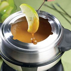 Caramel Fondue  No fondue pot? No problem. Slow cookers are a great way to prepare fondue and keep it warm throughout the party. Just combine caramels and condensed milk and cook on LOW for 3 1/2 hours, then serve with apple slices and pound cake squares.
